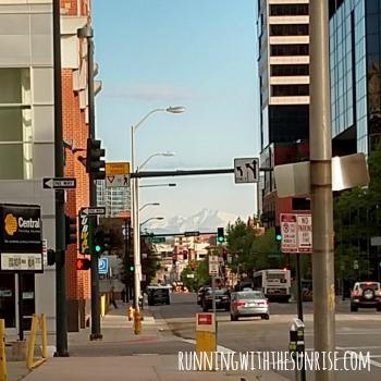 downtown denver glimpse of mountains