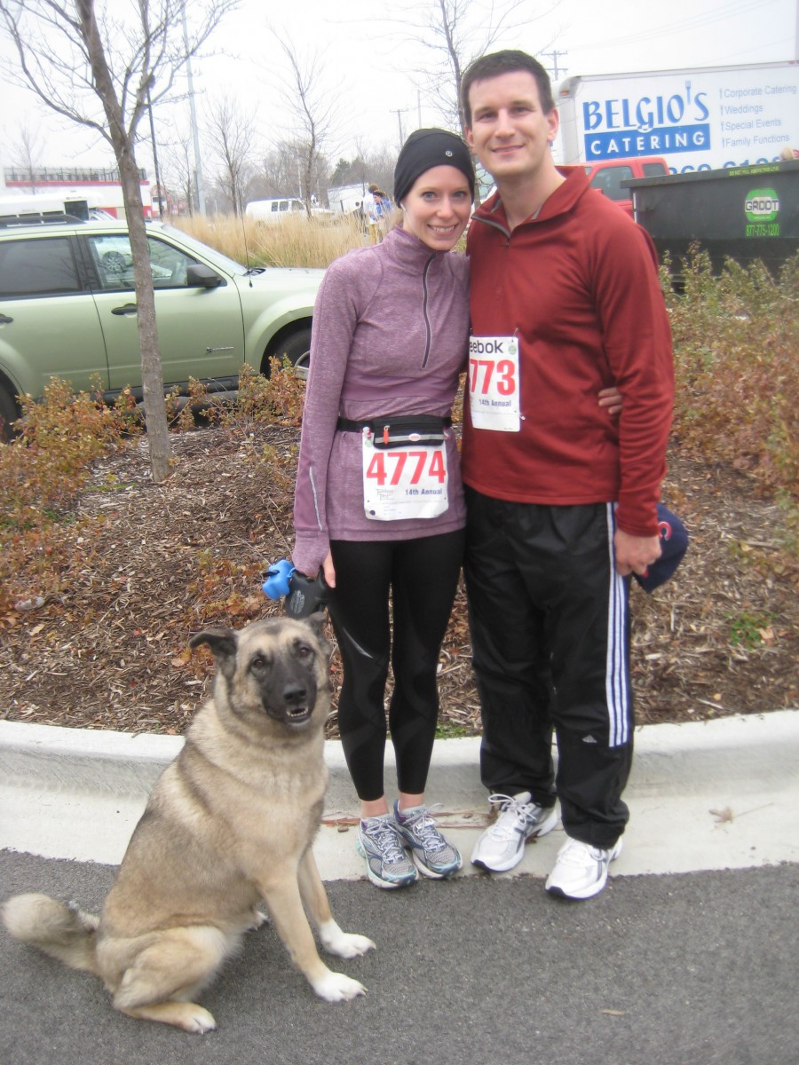 Scott, Chloe, and I at the turkey trot in 2011. I think those are the Ghost 4s I'm wearing. So old school...