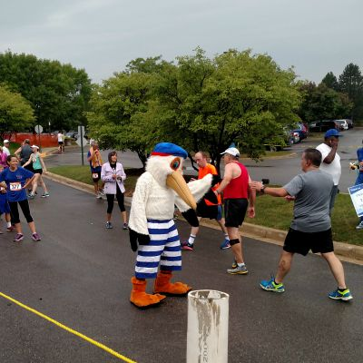 And you get free high fives from Parkie the Pelican at the finish line.