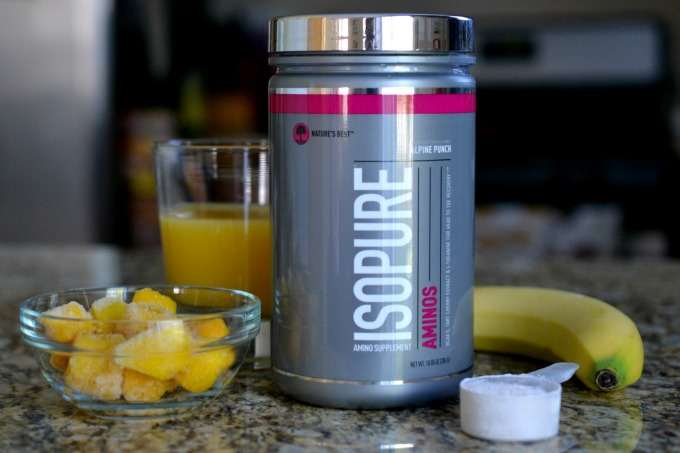 Need to refuel to recover from a hard workout? Try this Tropical Fruit Recovery Smoothie, made with Isopure Aminos! #isopure #behindthemuscle