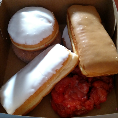 See that reddish one in the bottom right? That's a cherry fritter. And it is AMAZING.