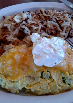 The omelette was so big that I could only fit in a couple of bites of the hash browns. So yummy.