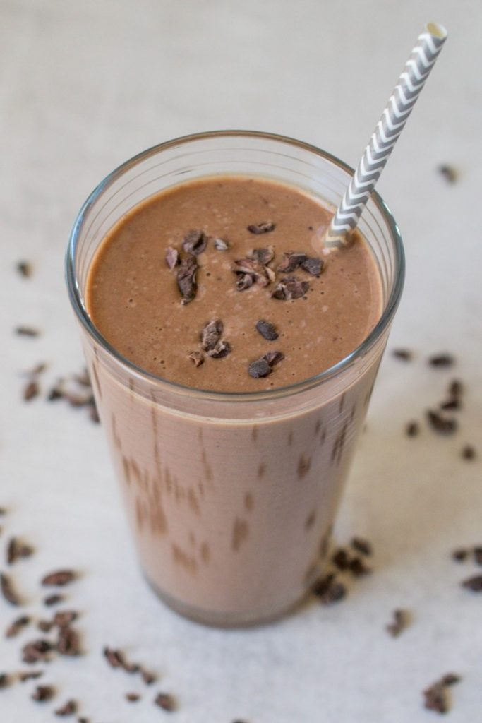 A healthy smoothie with the yummy flavors of peanut butter cups and strawberries.