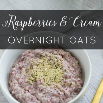 Raspberries and Cream Overnight Oats (Vegan)