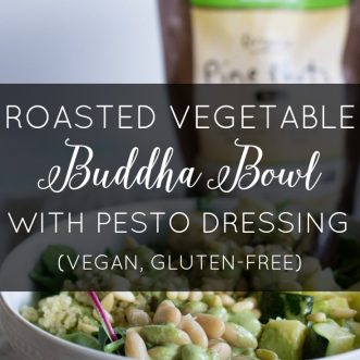 Roasted Vegetable Buddha Bowl with Pesto Dressing (Vegan, Gluten-Free)
